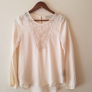 Tinley cream sheer boho top sz S